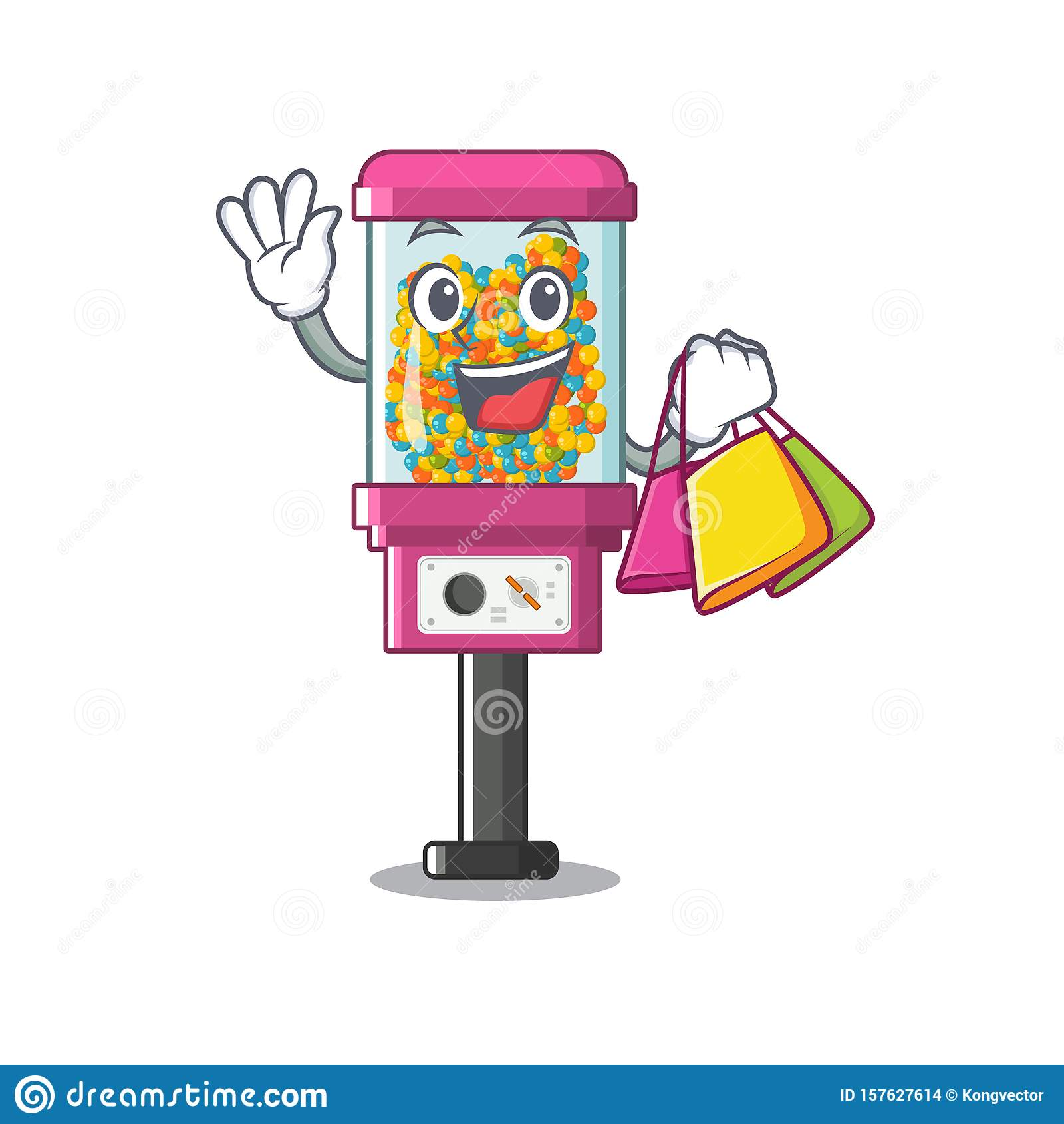 Shopping candy vending machine in a cartoon