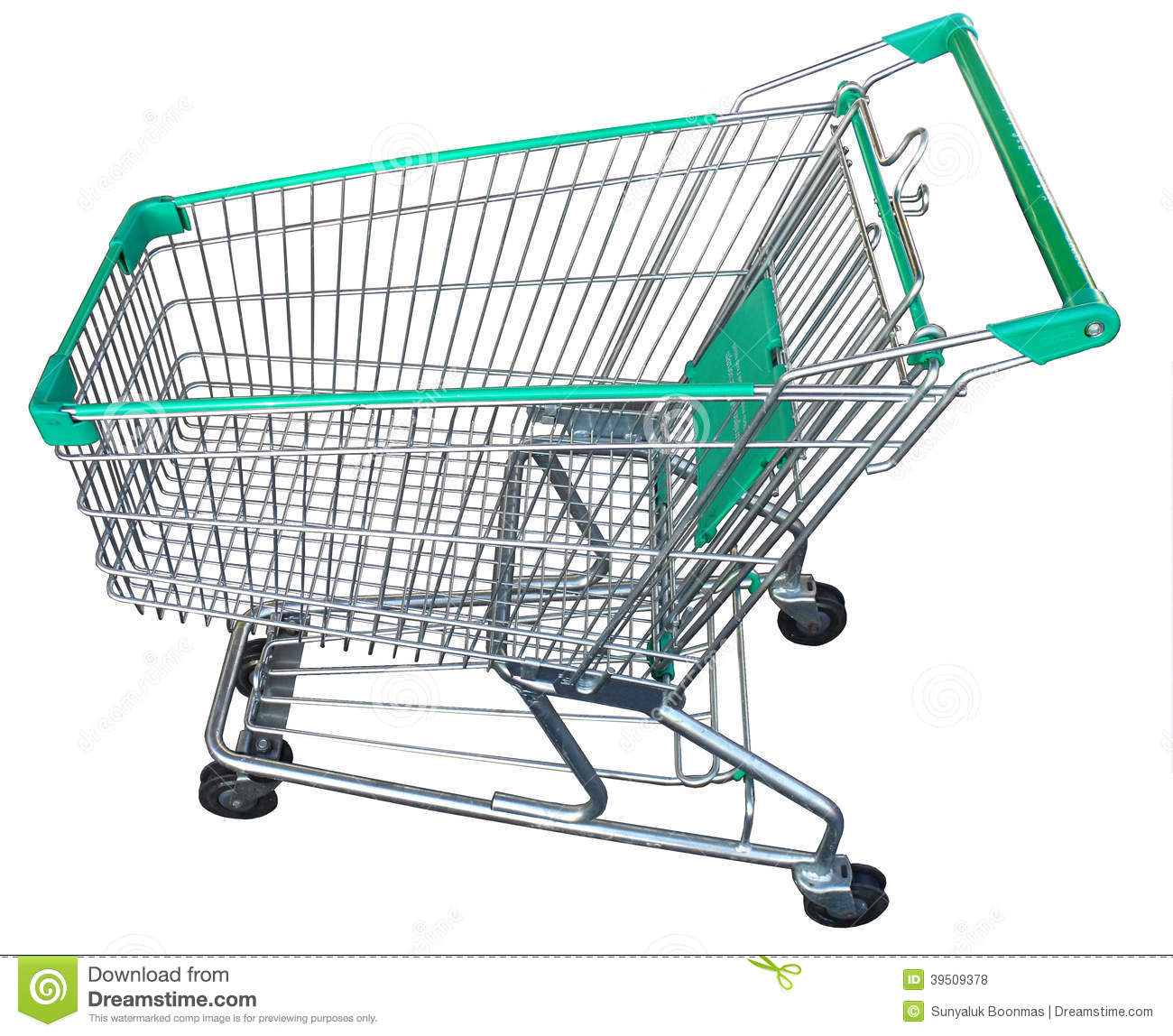 Full size empty green shopping cart with isolated