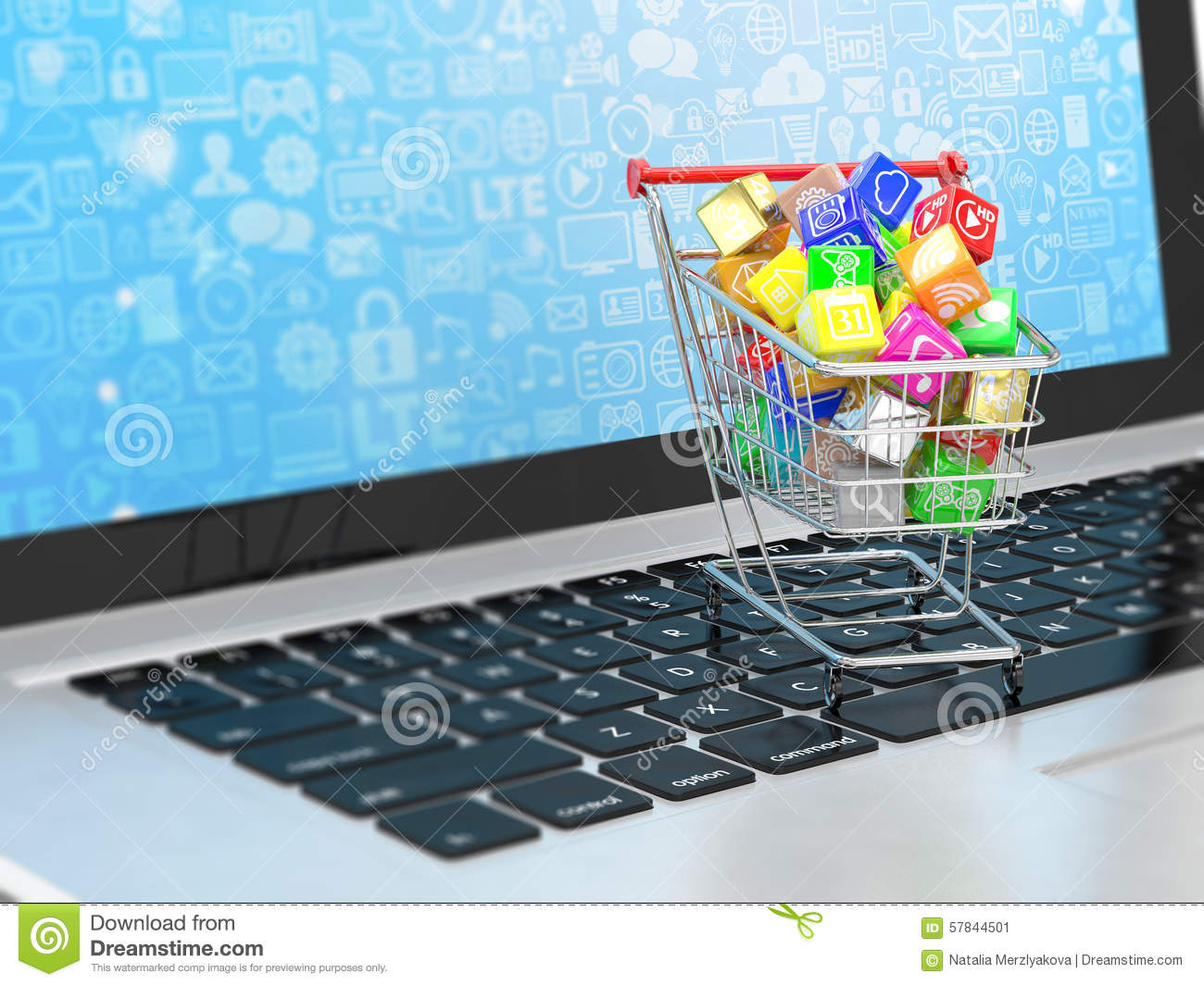 Shopping Cart With Application Software Icons Stock