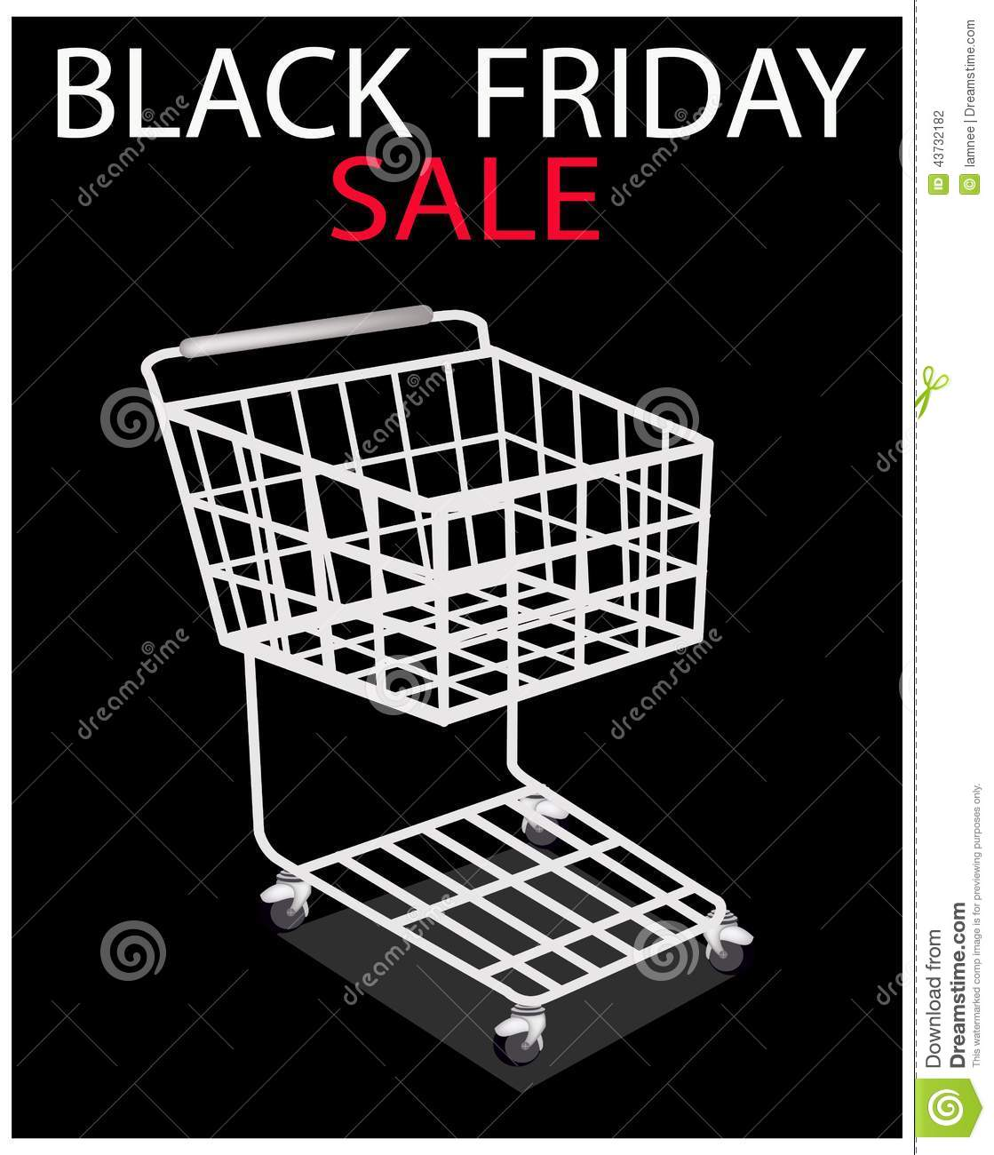 a shopping cart on black friday promotion stock vector. Black Bedroom Furniture Sets. Home Design Ideas