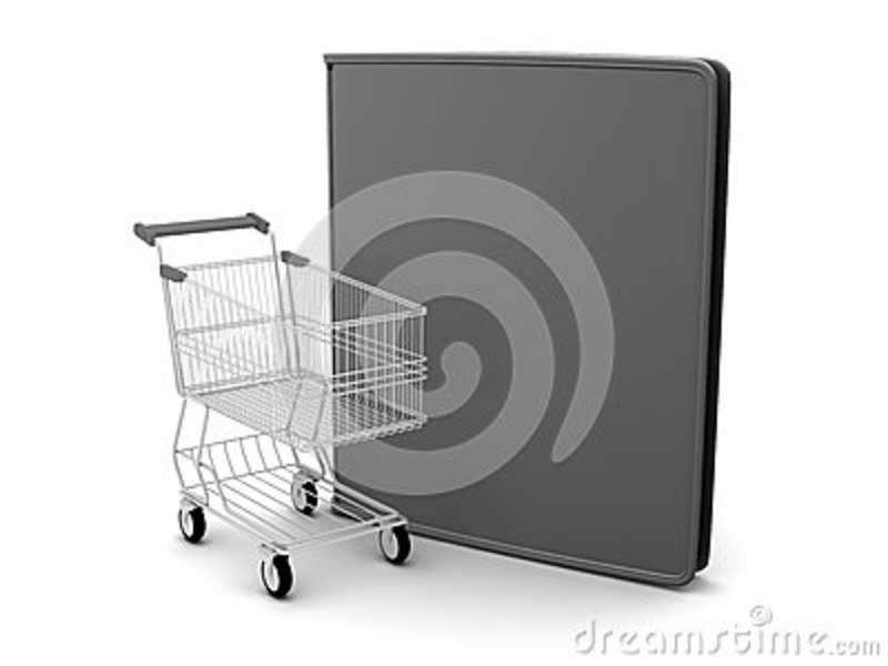 Shopping cart and black leather wallet