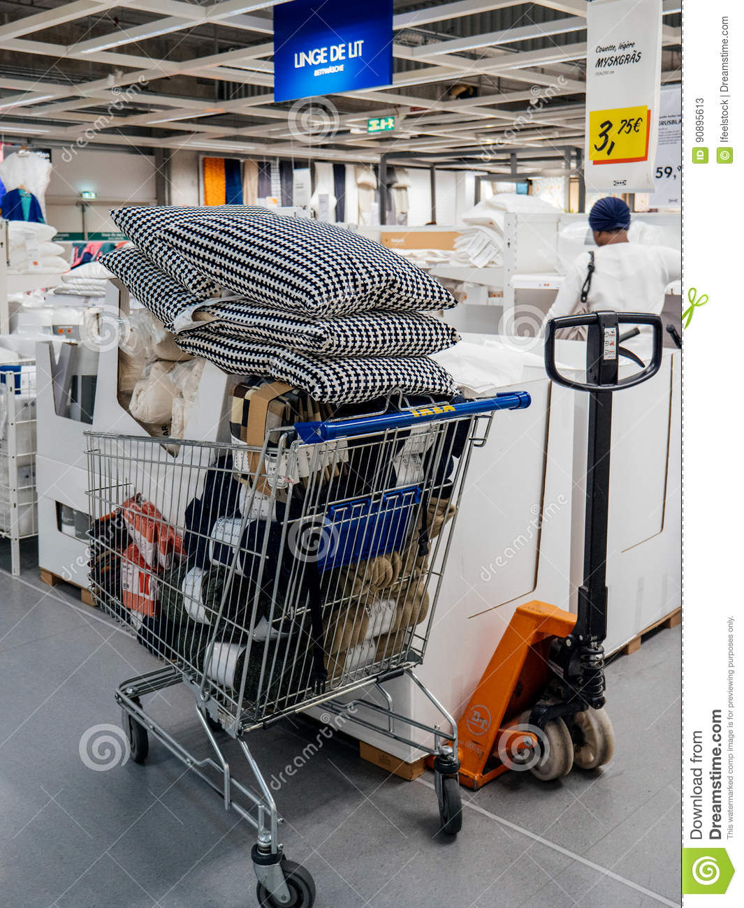 shopping cart caddy full with merchandise in ikea editorial stock photo image of furnishing. Black Bedroom Furniture Sets. Home Design Ideas