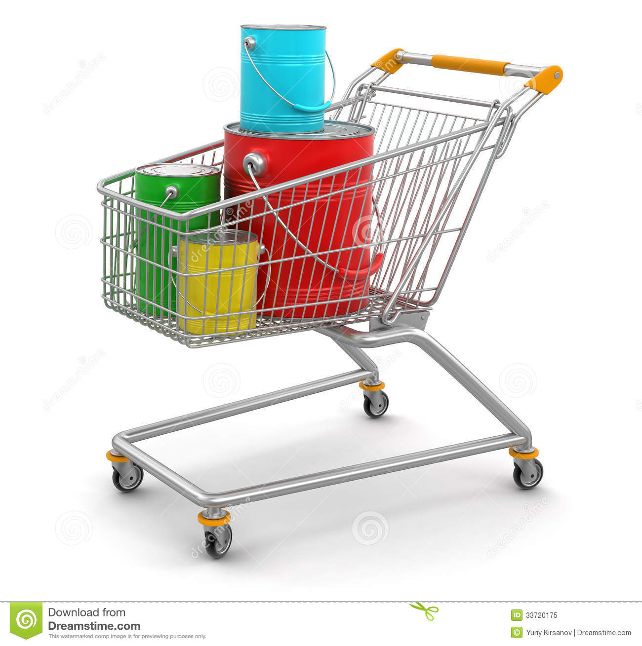 Shopping Cart And Cans Of Paint Clipping Path Included Stock