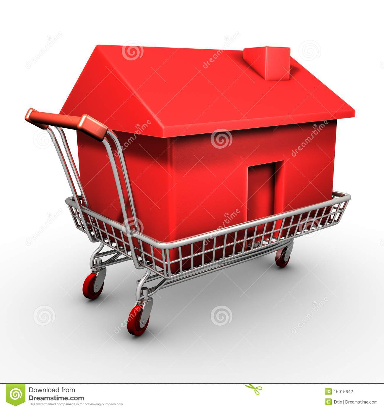 shopping cart carrying a red house stock illustration illustration of cash architect 15015642. Black Bedroom Furniture Sets. Home Design Ideas