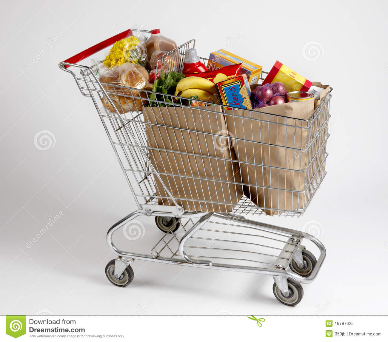 Shopping Cart Filled With Groceries Royalty Free Stock