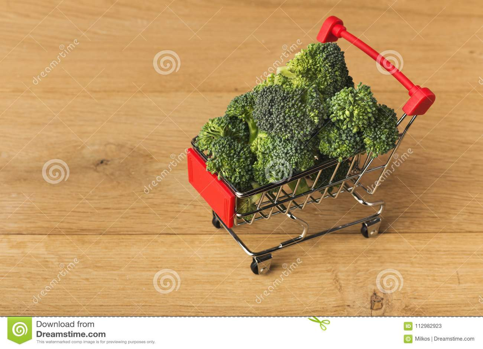 Shopping cart full of broccoli