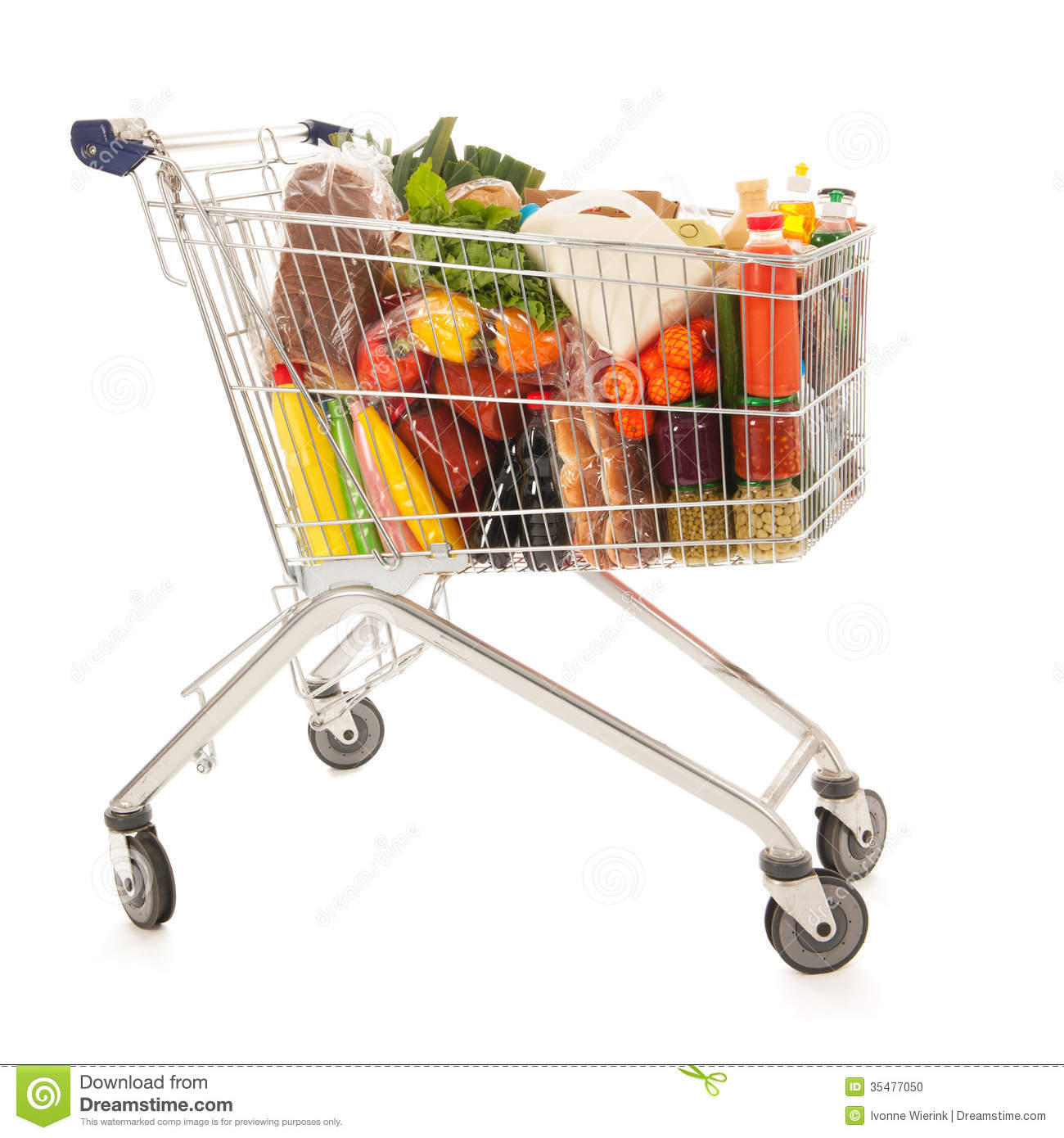 Shopping Cart Full Dairy Grocery Stock Photo - Image: 35477050