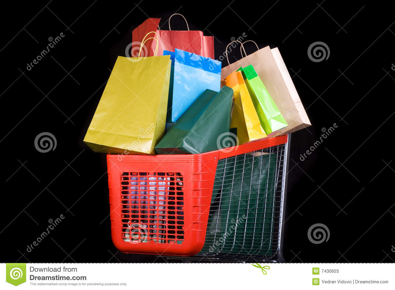 Download Shopping Cart Full Of Gifts On Black Background Stock Image - Image of metal, purchasing: 7430603