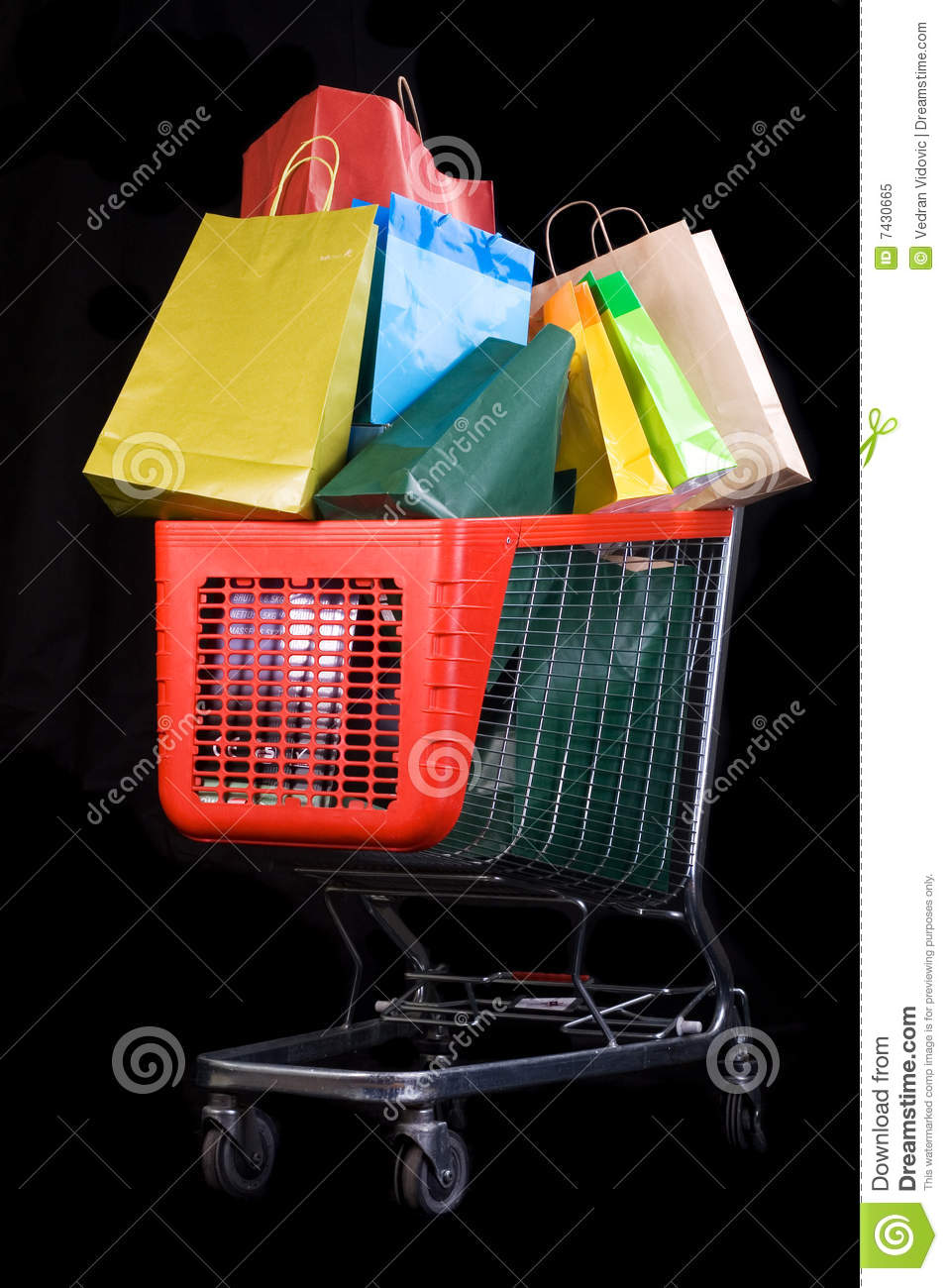 Download Shopping Cart Full Of Gifts On Black Background Stock Image - Image of customer, grocery: 7430665