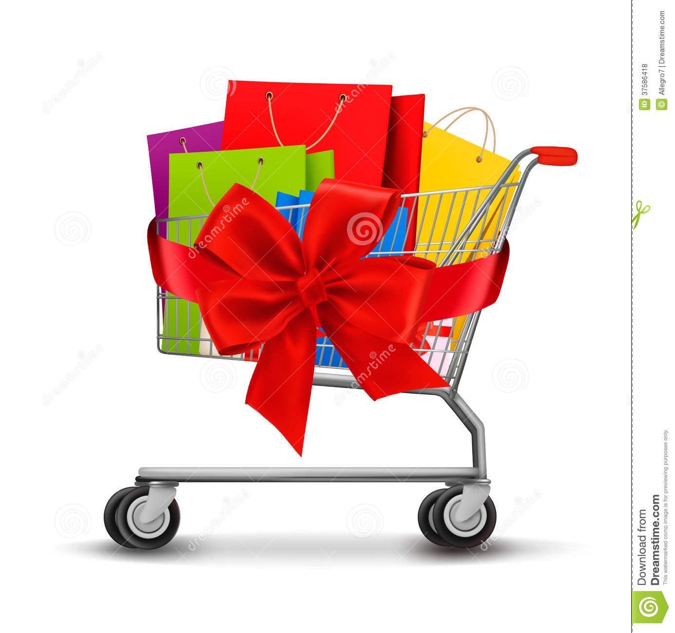 Shopping Cart Full Of Shopping Bags And A Gift Bow Royalty Free ...