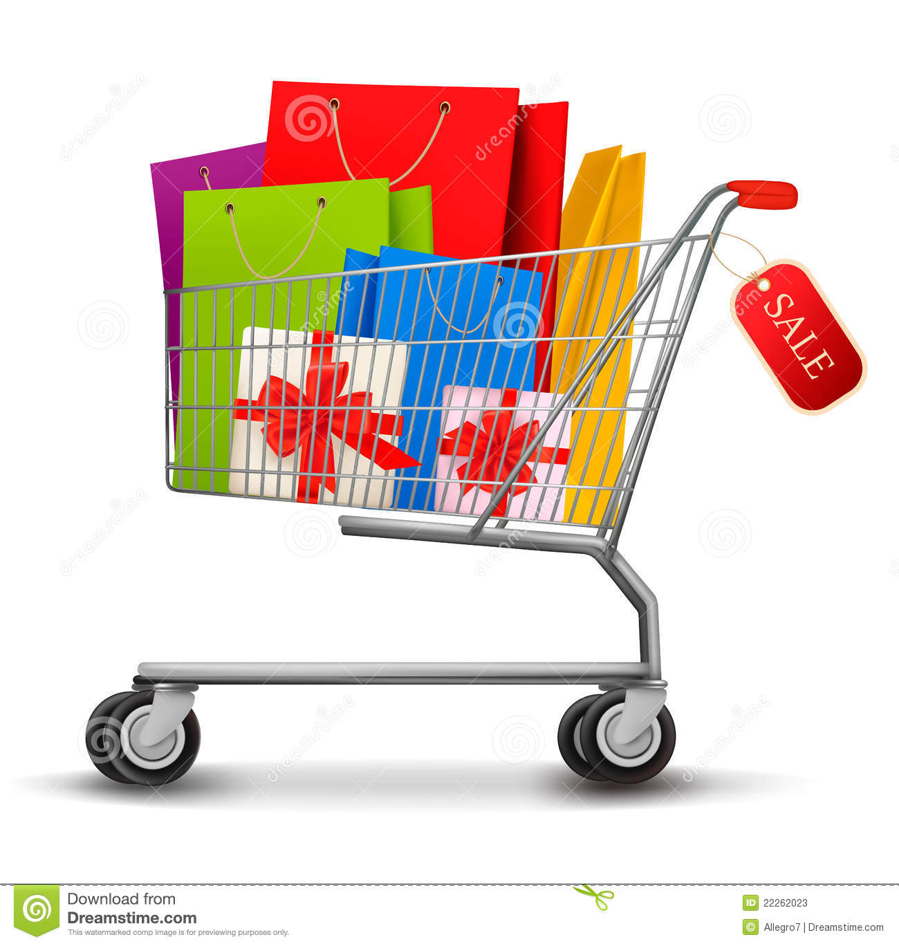 Shopping Cart Full Of Shopping Bags And Gift Boxes Stock Photos ...