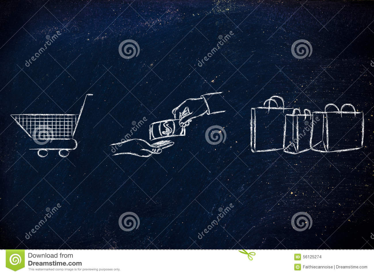 Shopping cart, hands exchanging money and bags