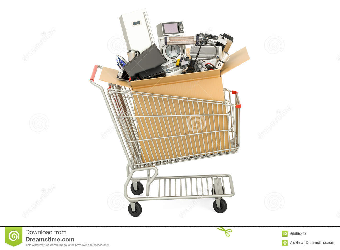Shopping Cart With Household And Kitchen Appliances, 3D