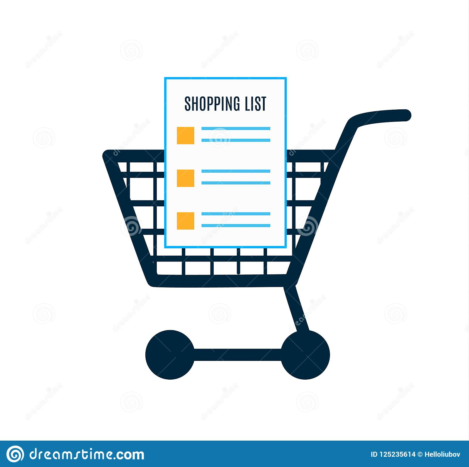 shopping cart icon flat design empty shopping cart with blank shopping list vector