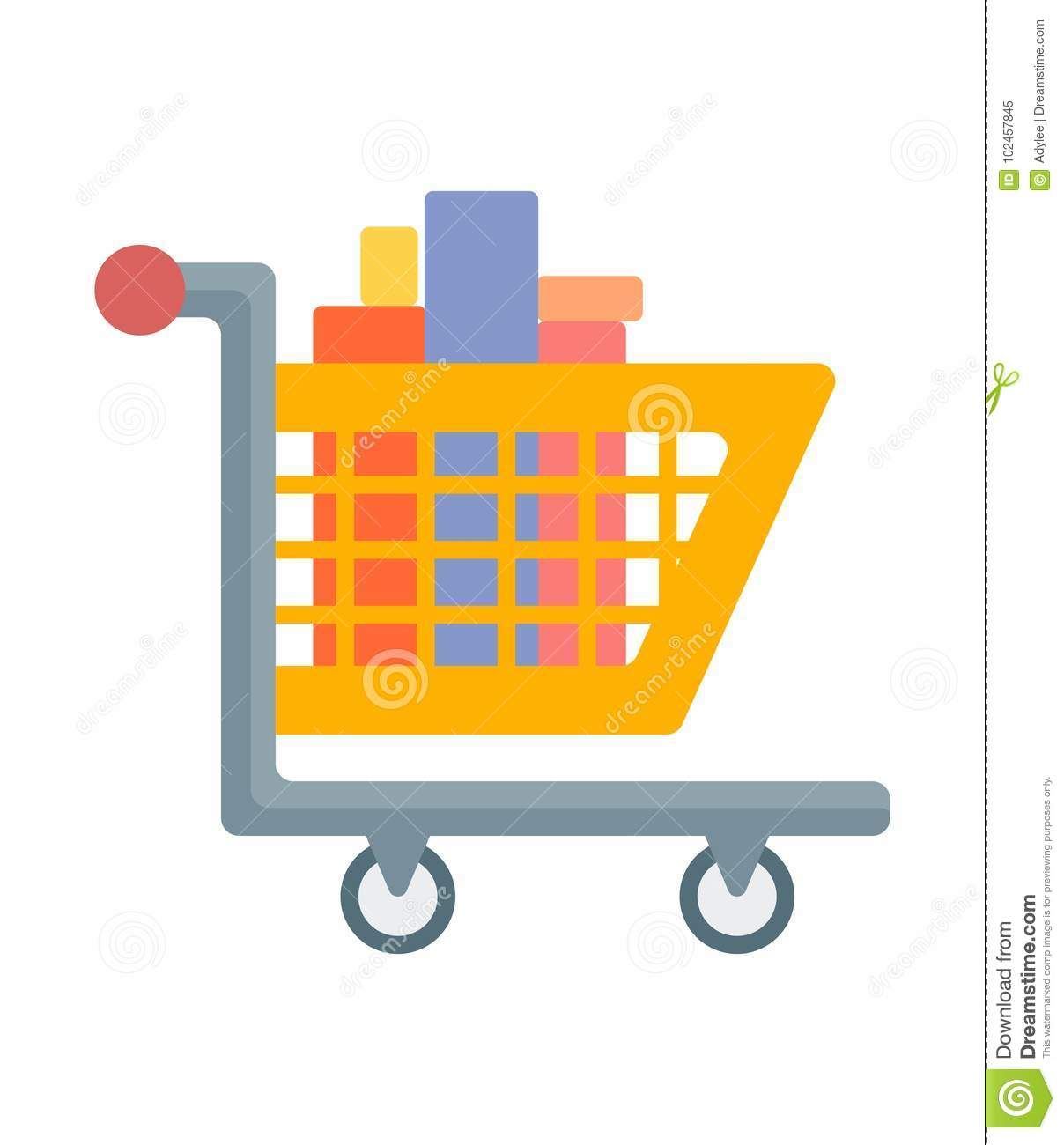 shopping cart icon with goods stock image illustration of icon