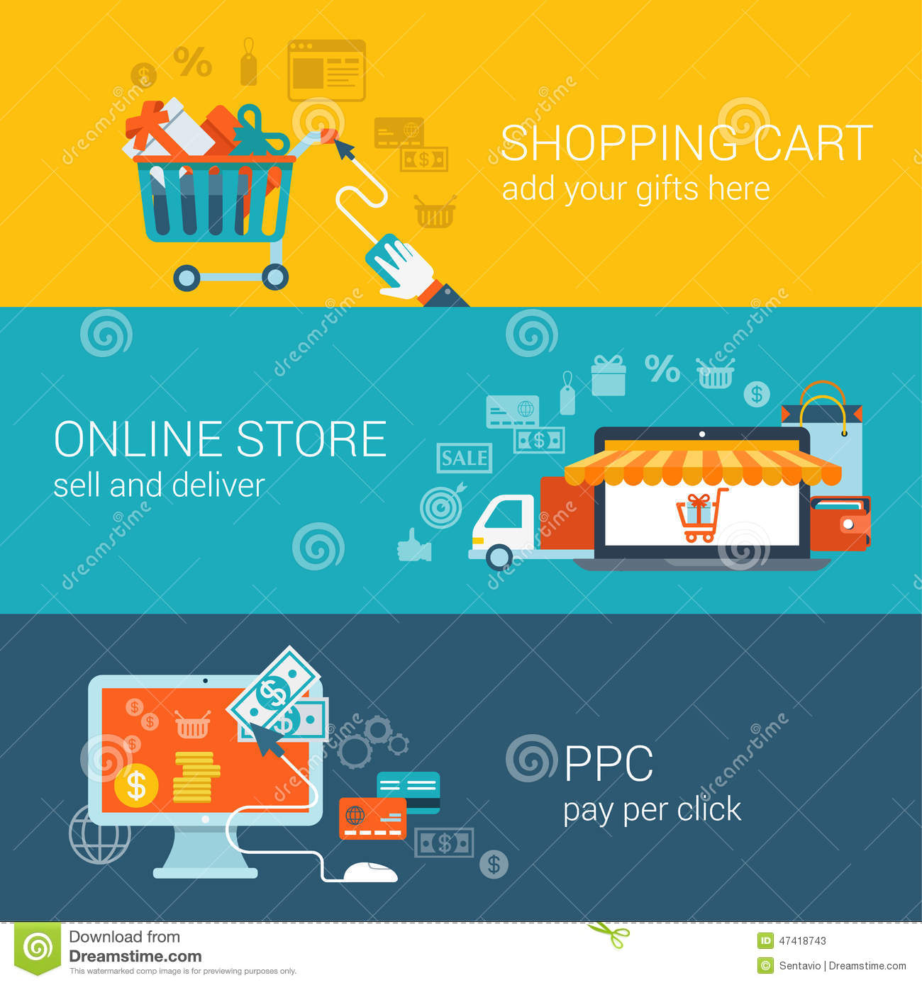 Shopping cart online store pay per click flat style for Online art stores us