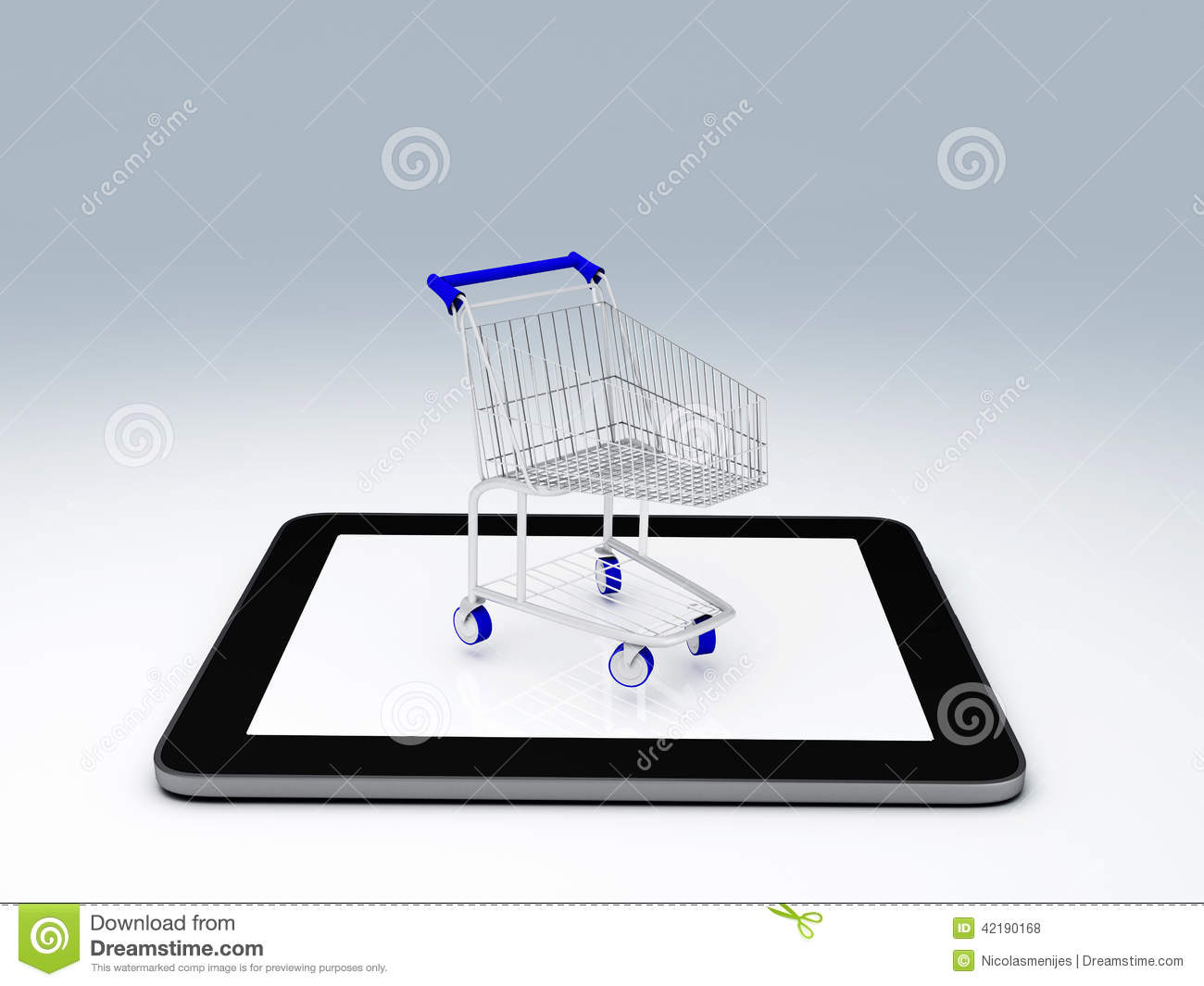 shopping cart over tablet pc e commerce concept stock