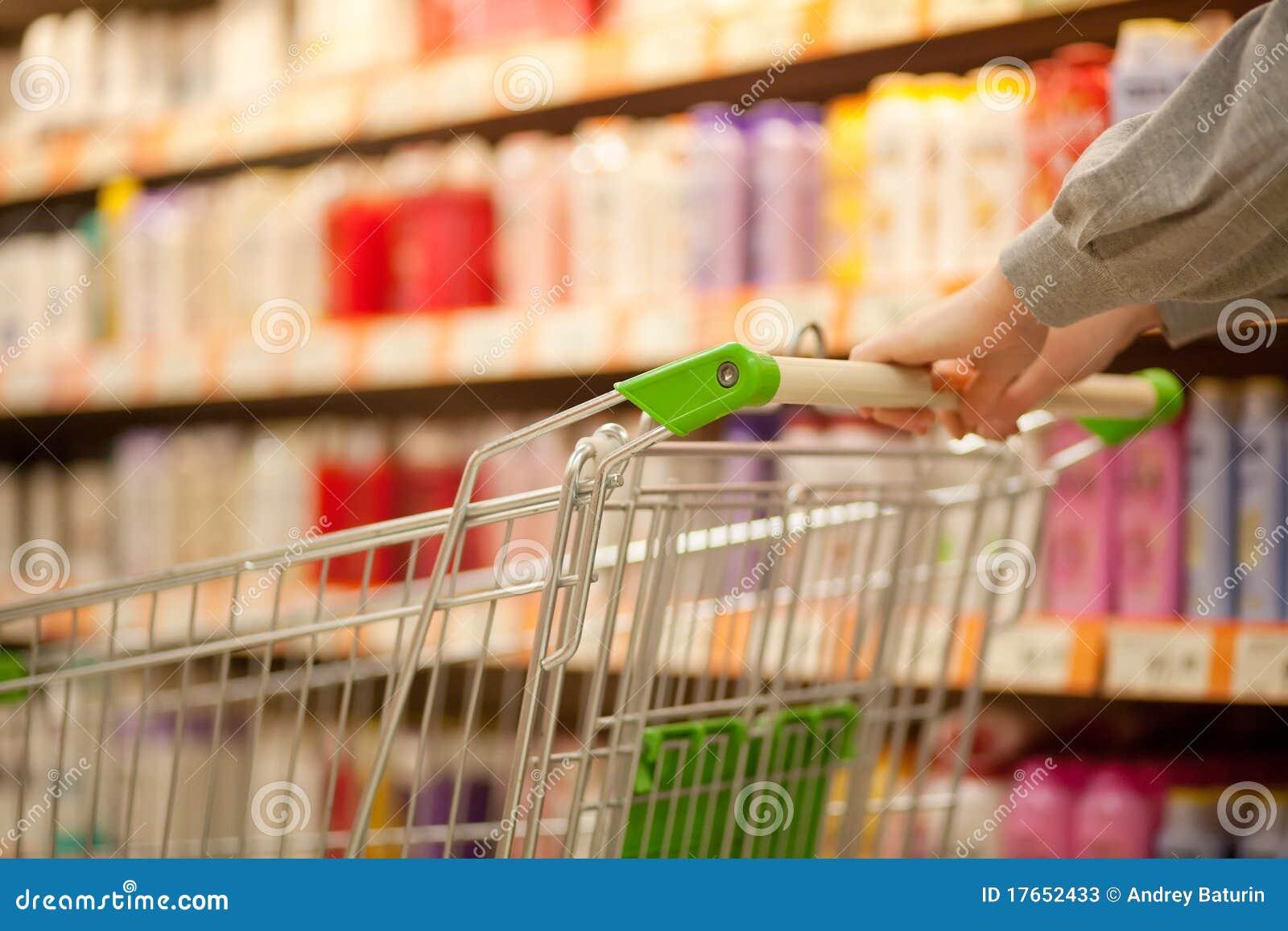 Shopping cart in supermarket