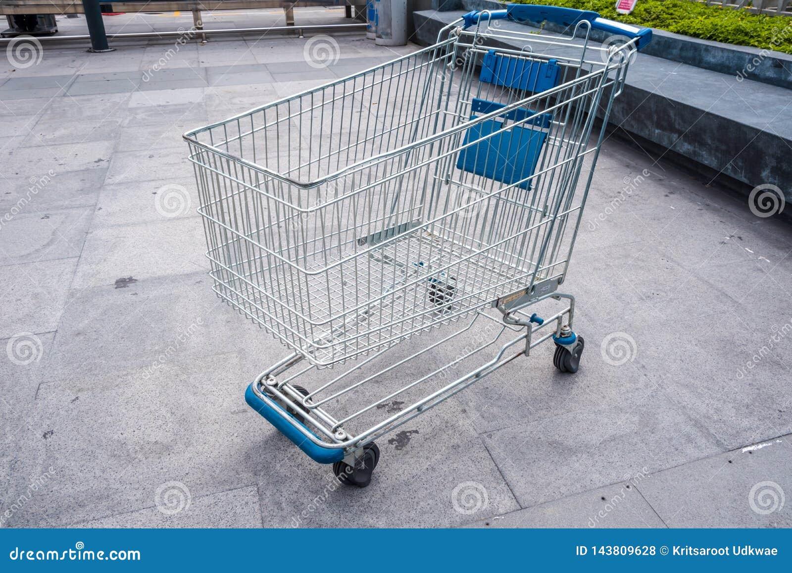 Shopping cart at supermarket area.