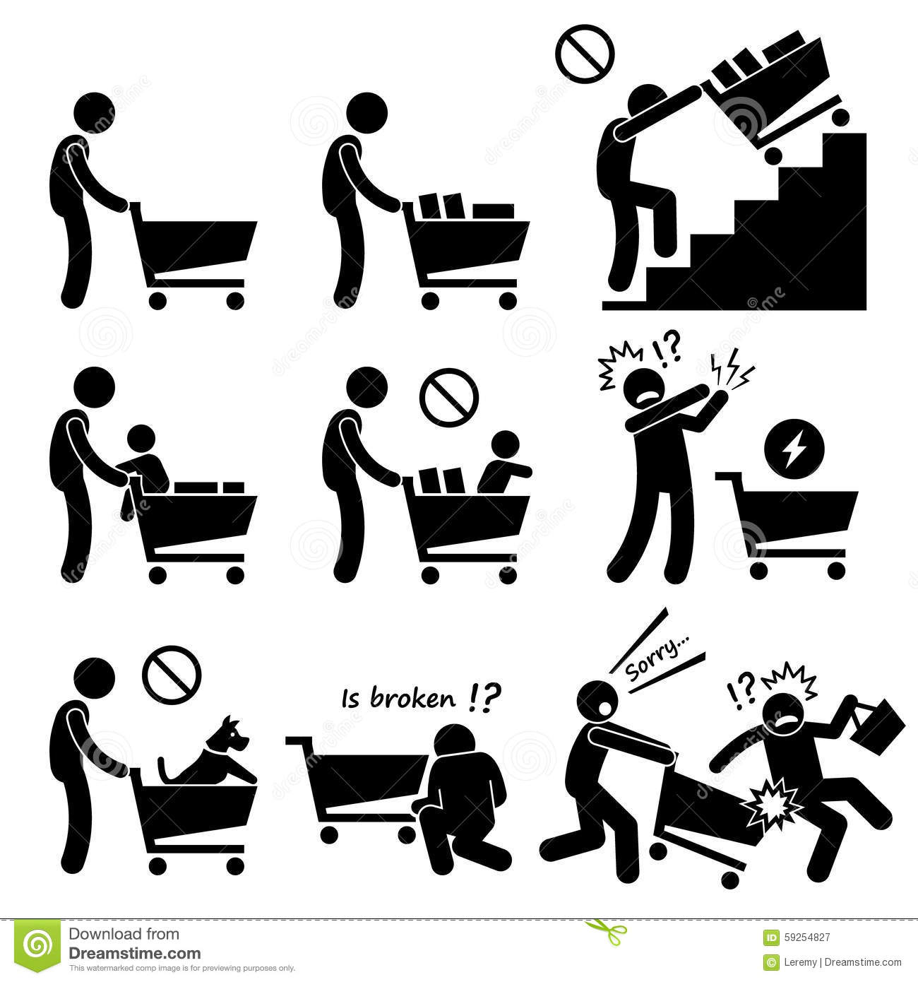 shopping cart trolley do and not cliparts stock vector