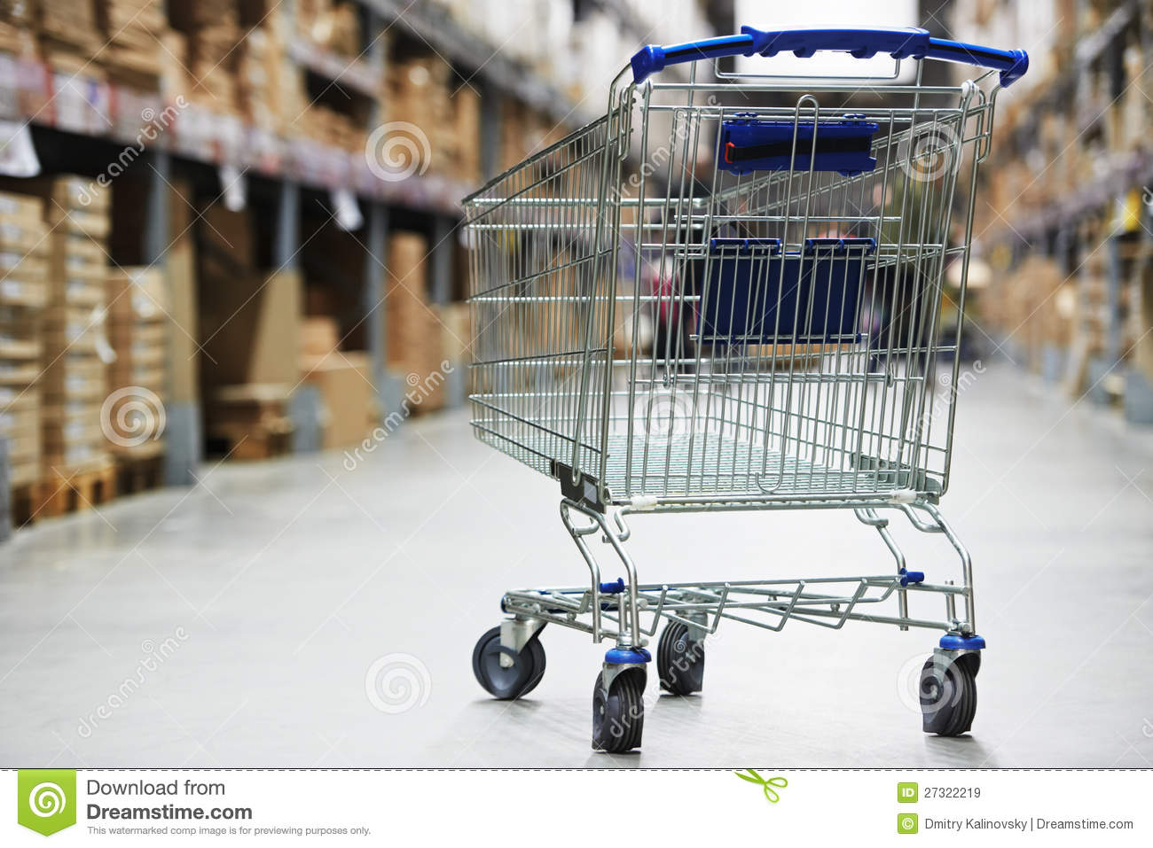 Shopping Cart Trolley In Warehouse Royalty Free Stock