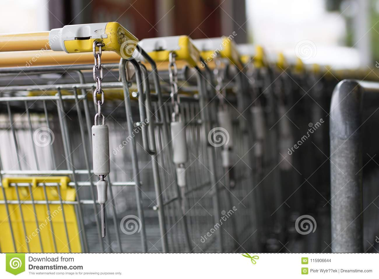 The shopping cart trolleys are placed under the market. Shopping