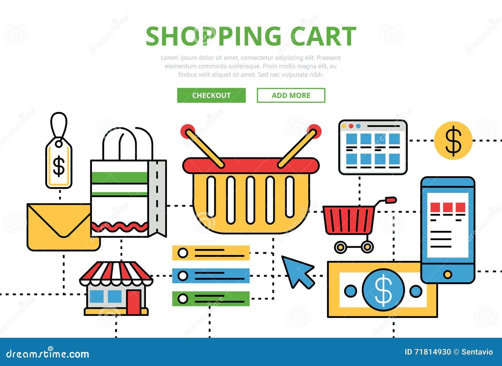 Line Art Website : Shopping cart vector flat line art infographics banner