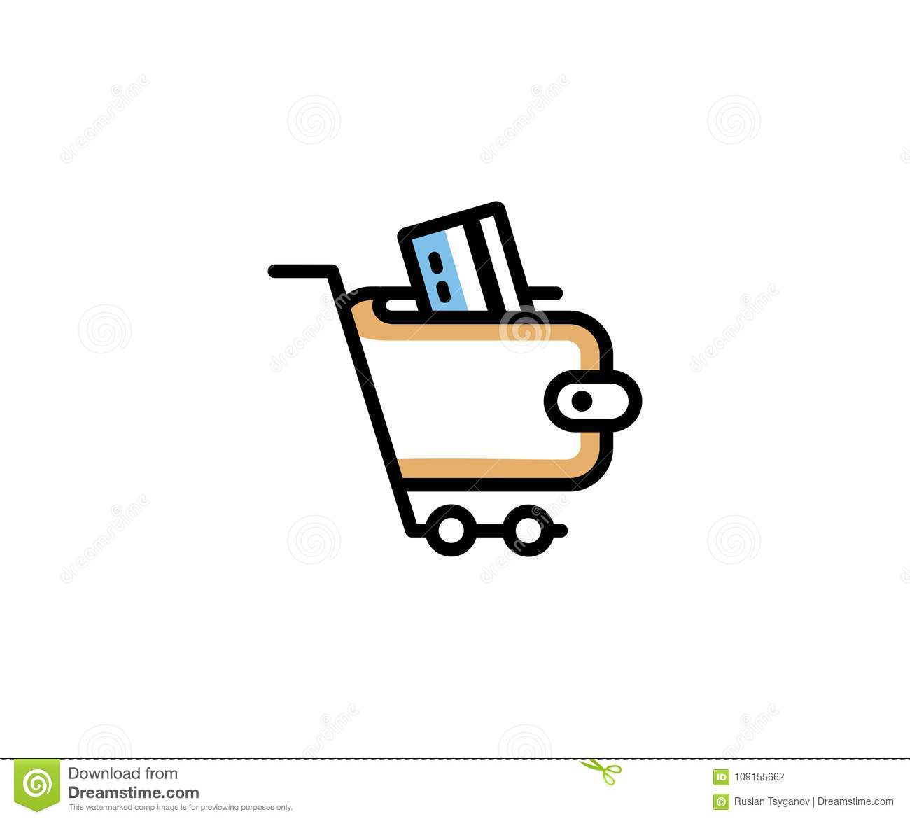 Shopping Cart And Wallet With Plastic Card Logo Template Online