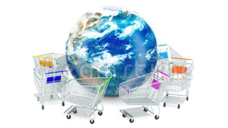 Shopping carts are moving around Earth globe, online shopping concept  3D  rendering