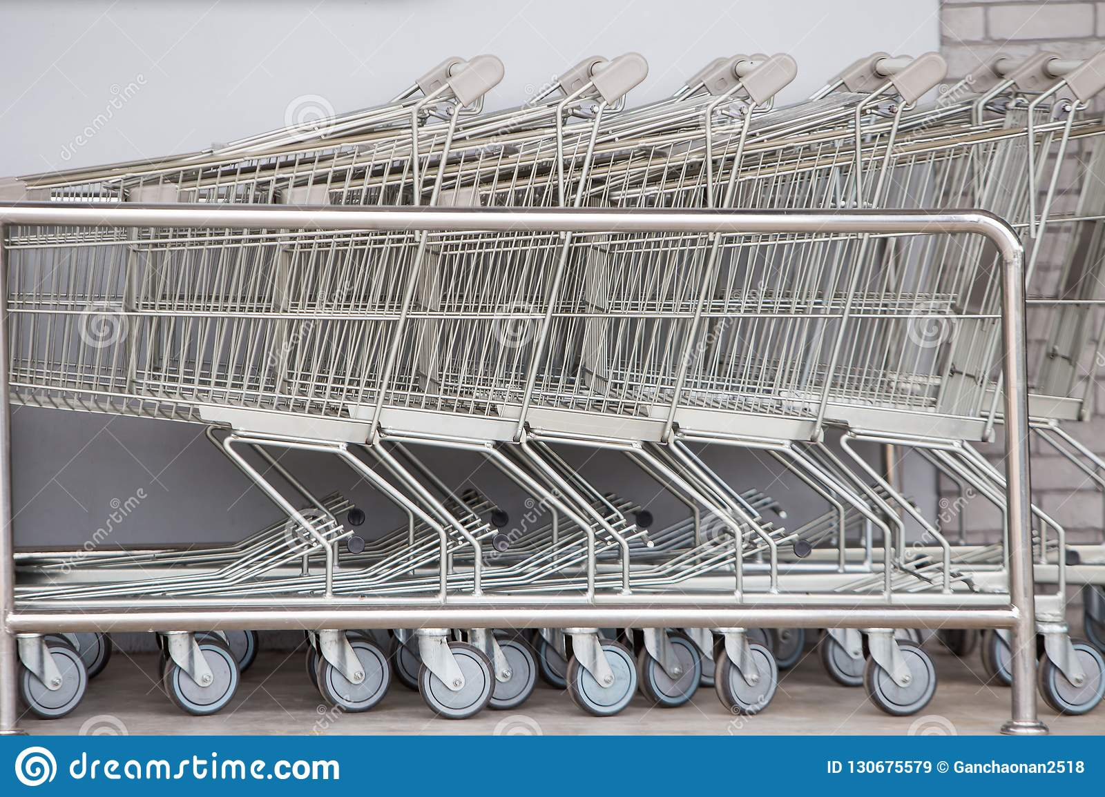 Shopping carts, Shopping cart trolley in row retail department store,