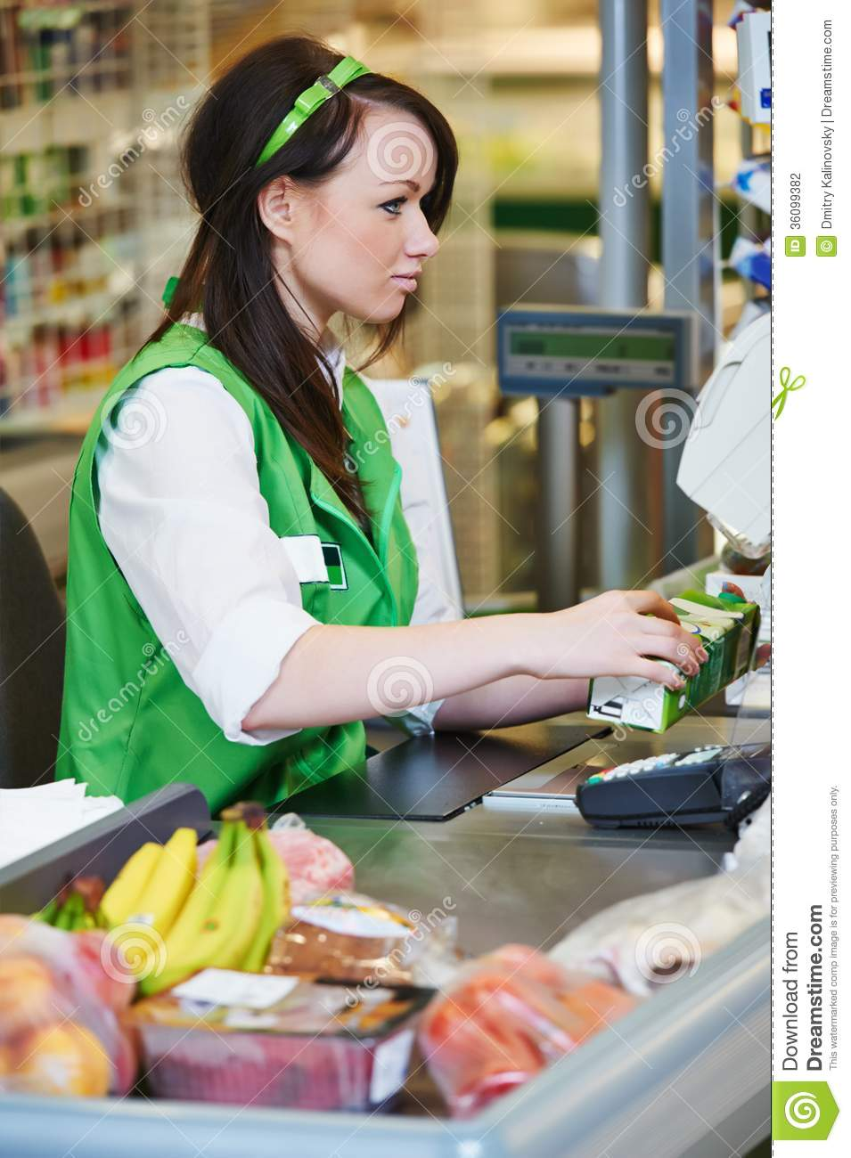 shopping cashdesk worker in supermarket stock photography image cashdesk worker in supermarket