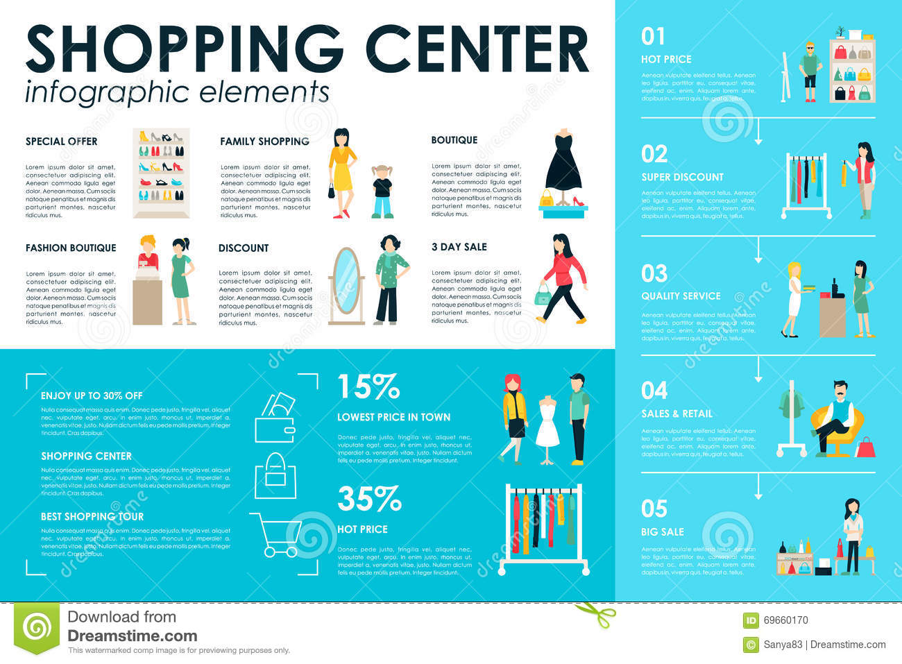 shopping center concept retail infographic flat web vector illustration  info  graphic  people