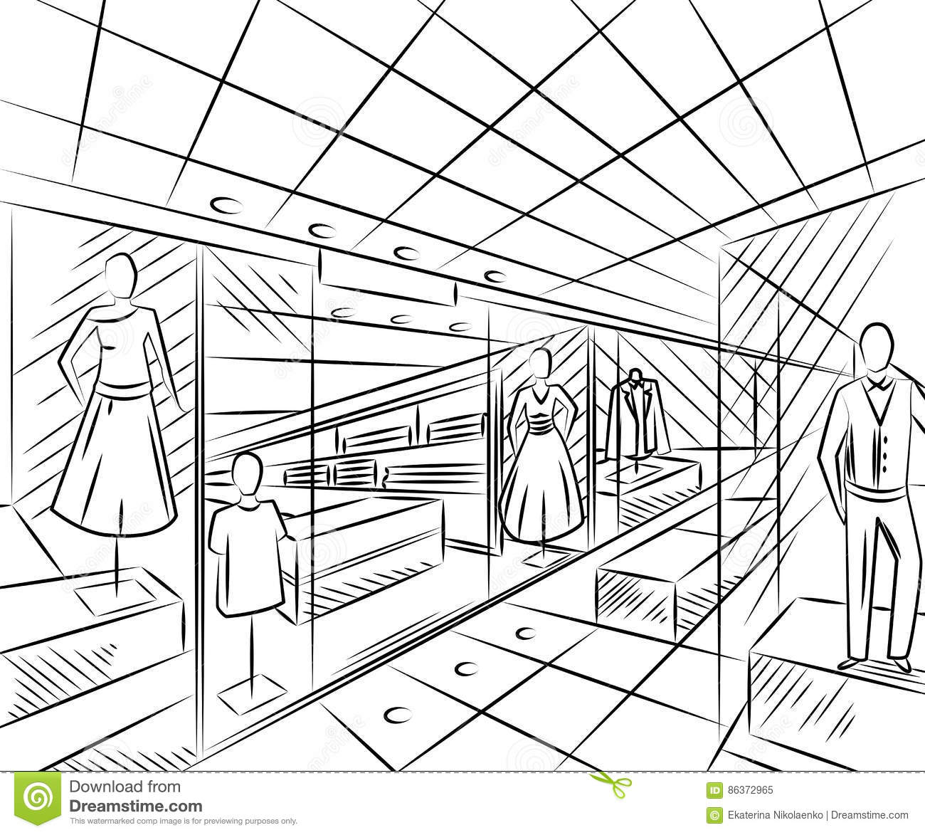 Interior Design Line Art Vector : Shopping center with fashion stores interior design in