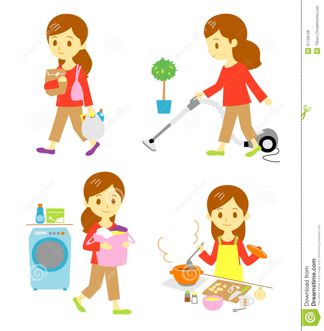 Shopping Cleaning Washing Cooking Vector Illustration