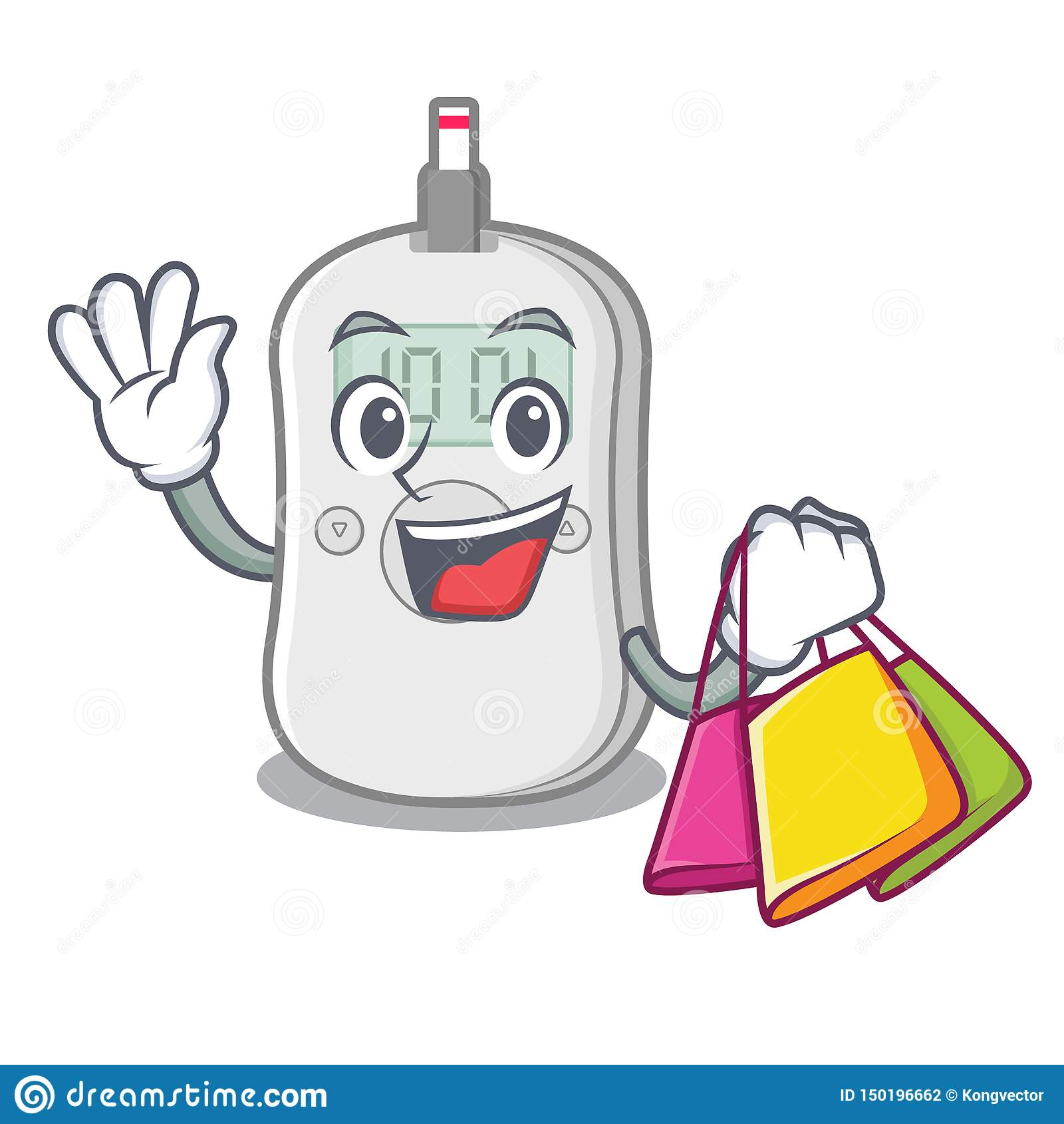 Shopping diabetes check machine isolated the cartoon