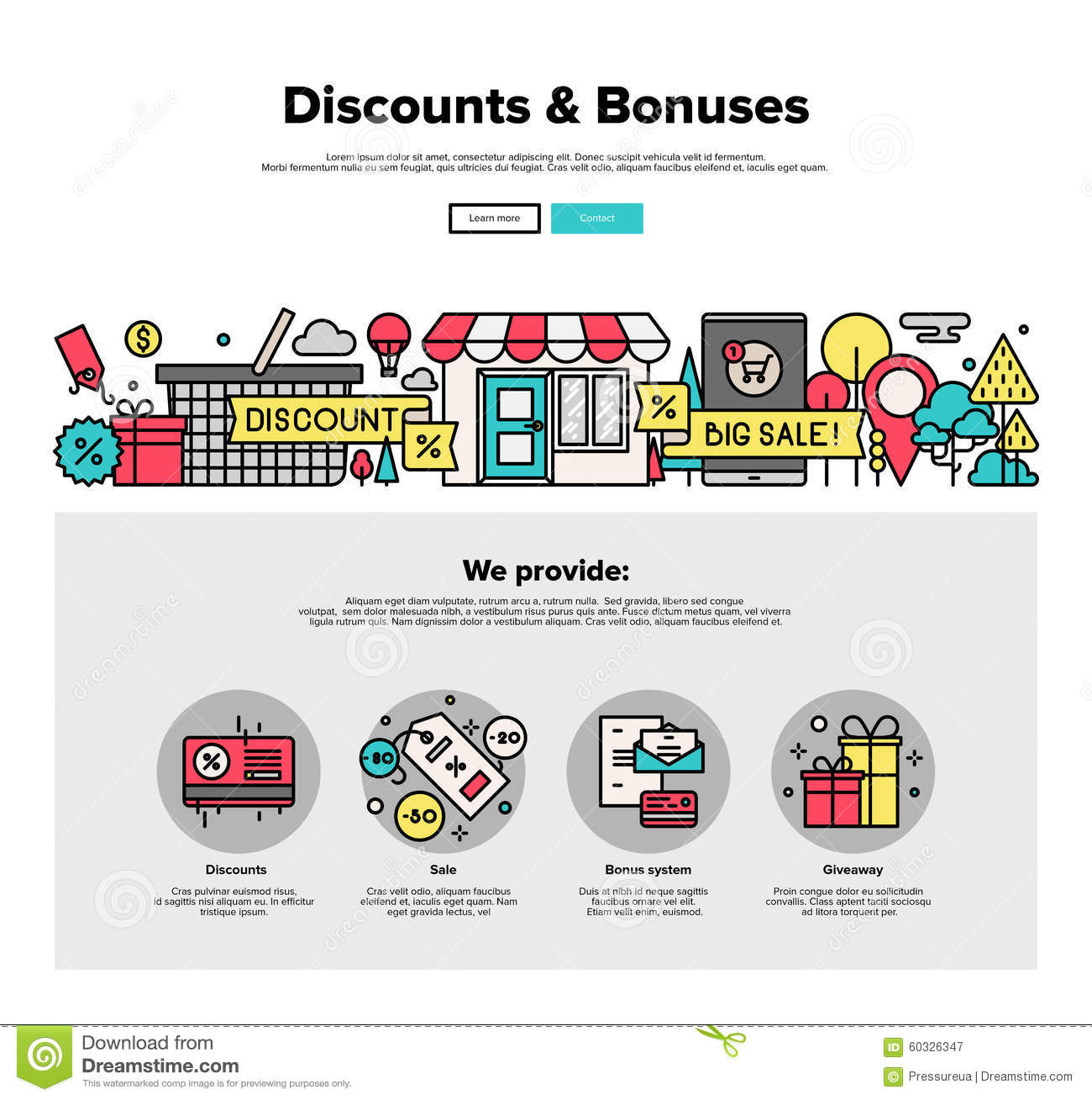 Shopping discounts flat line web graphics stock vector for Website design for online shopping