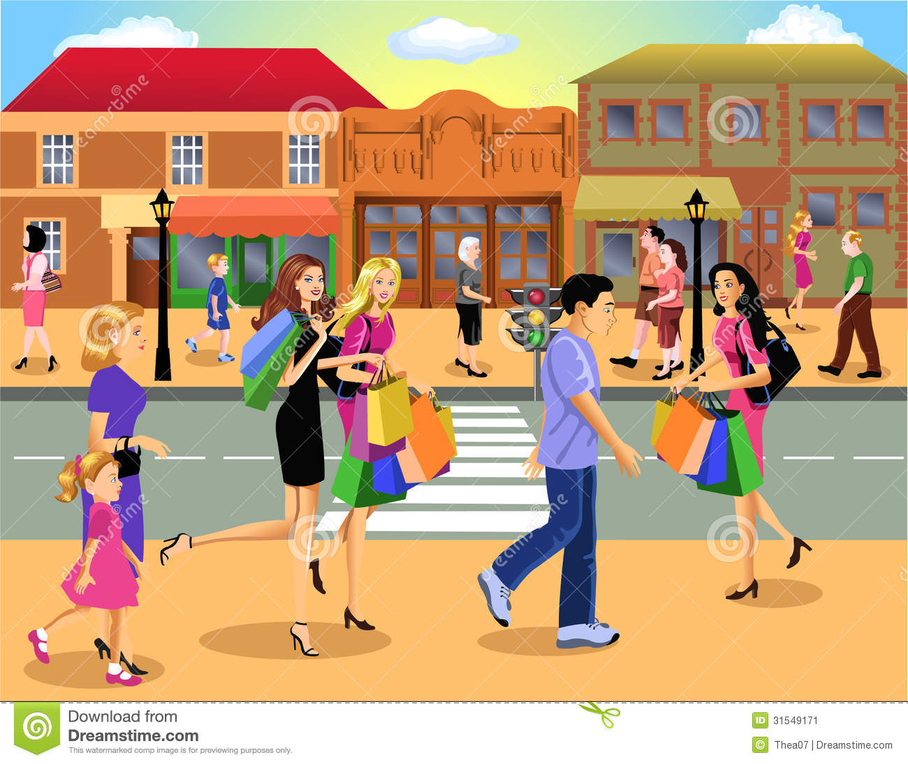 Shopping downtown stock illustration. Image of family ...