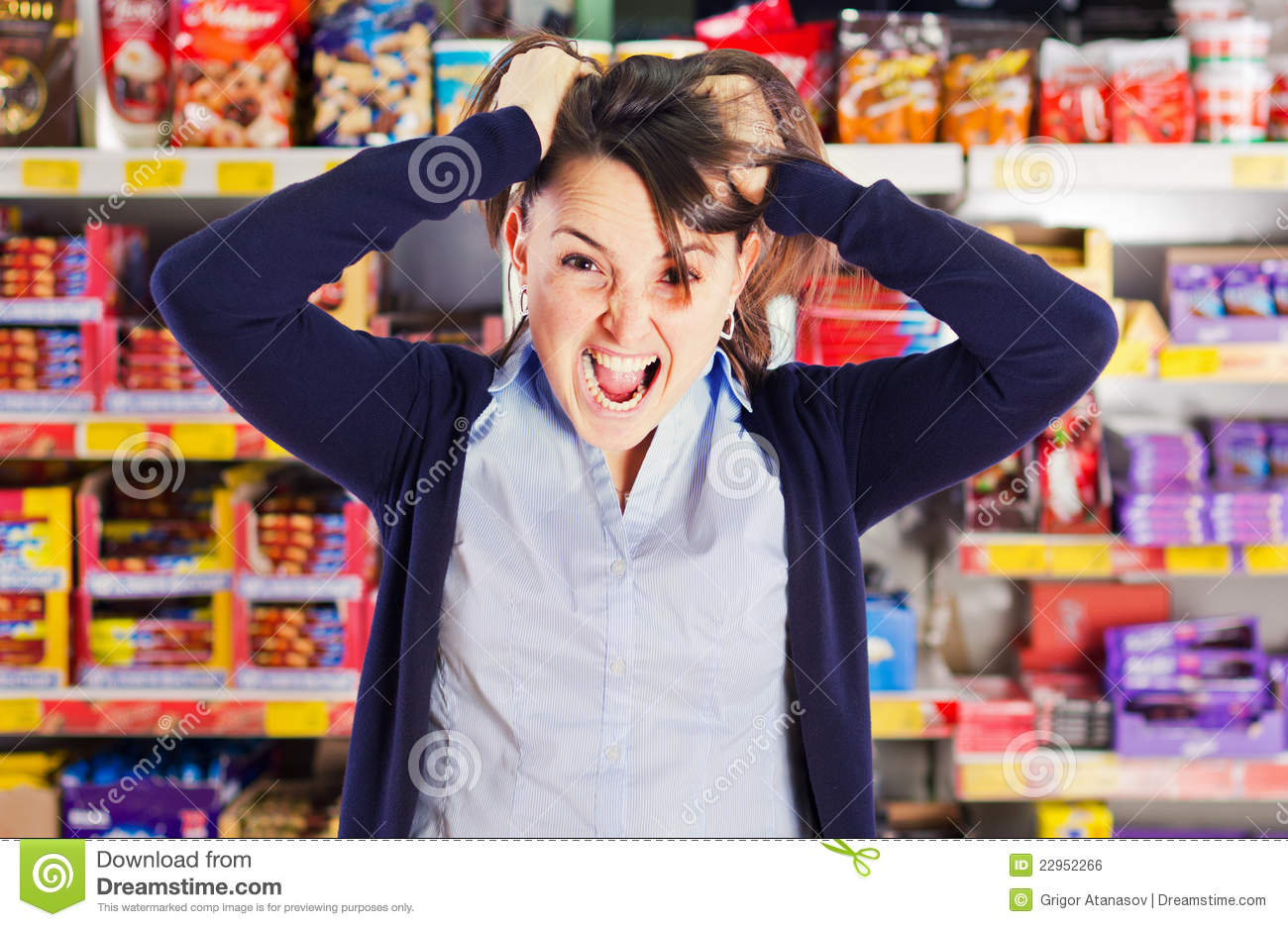 Attractive Woman Yelling Or Screaming In Grocery S Royalty ...