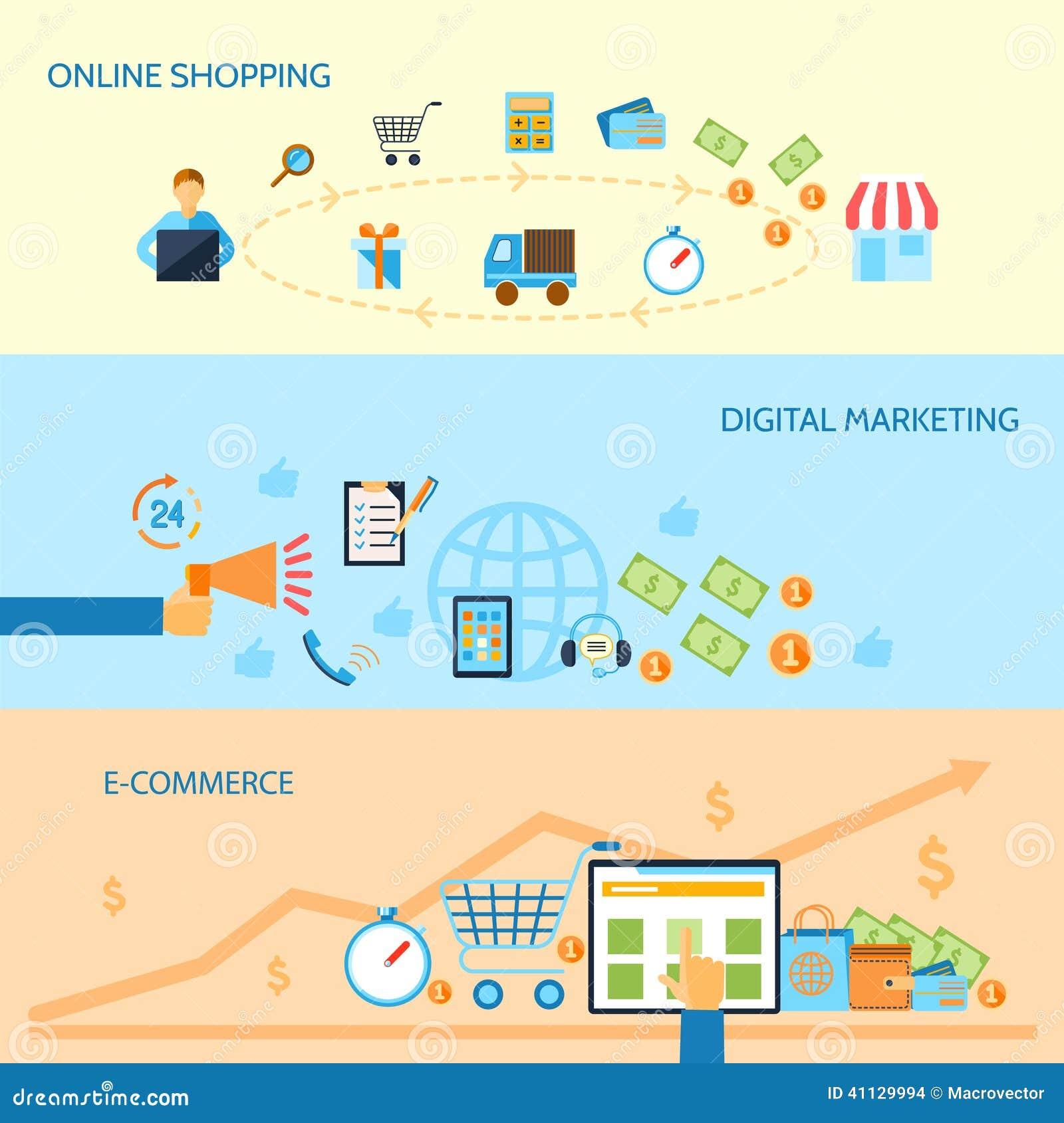 Banner design for e commerce - Shopping E Commerce Banner Banners Set Online Digital