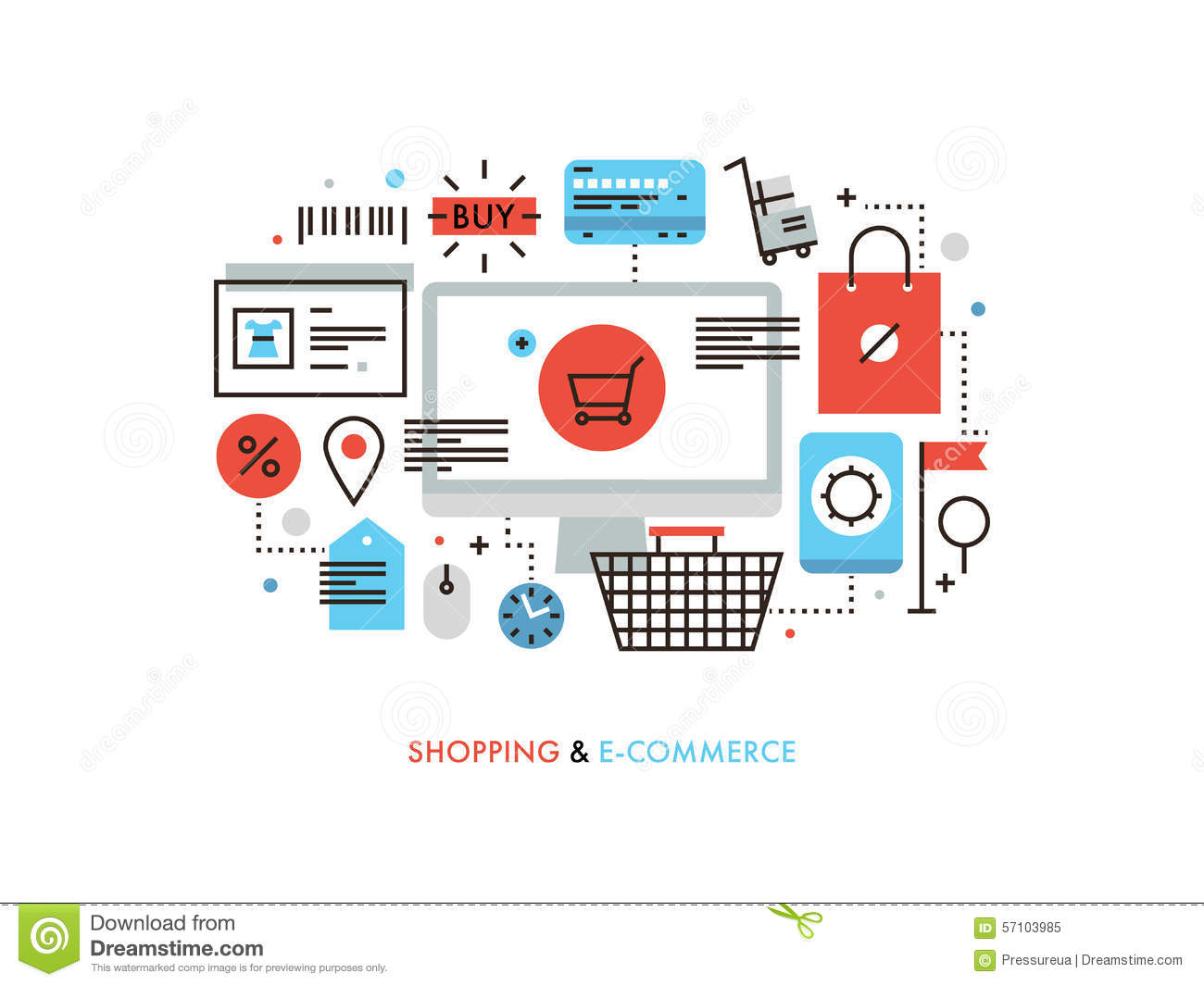 Shopping and e commerce flat line illustration stock for Website design for online shopping