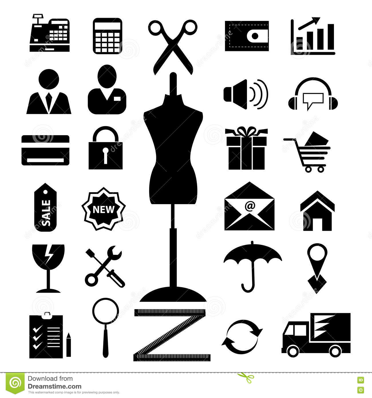 Shopping and electronic commerce web icons set. raster version, file also available in gallery