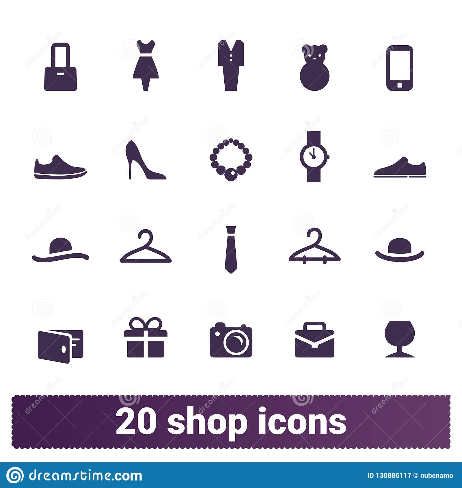 Shopping, Fashion And Retail Business Vector Icons Stock