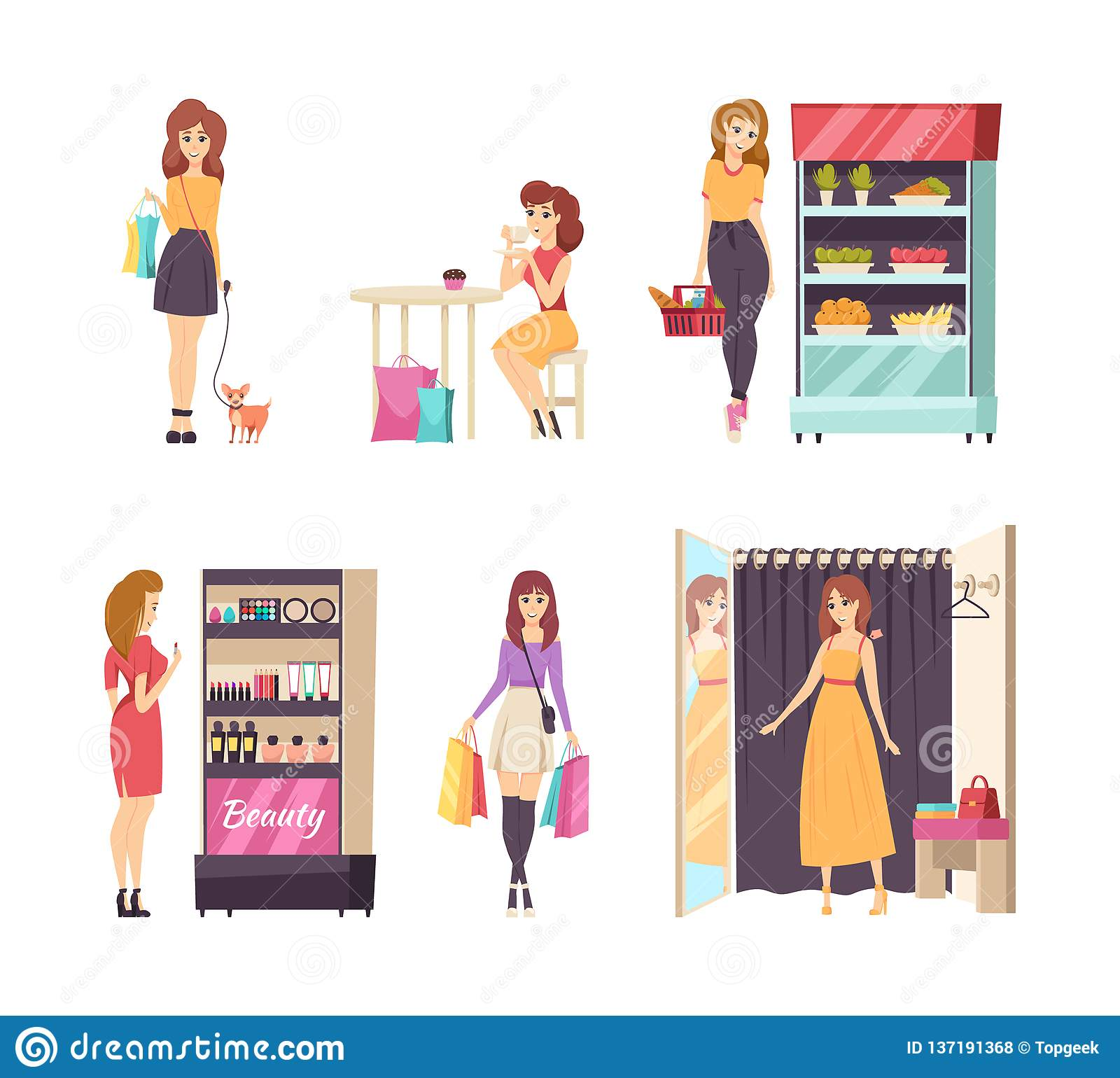 Shopping Female Looking at Cosmetics Stand Vector