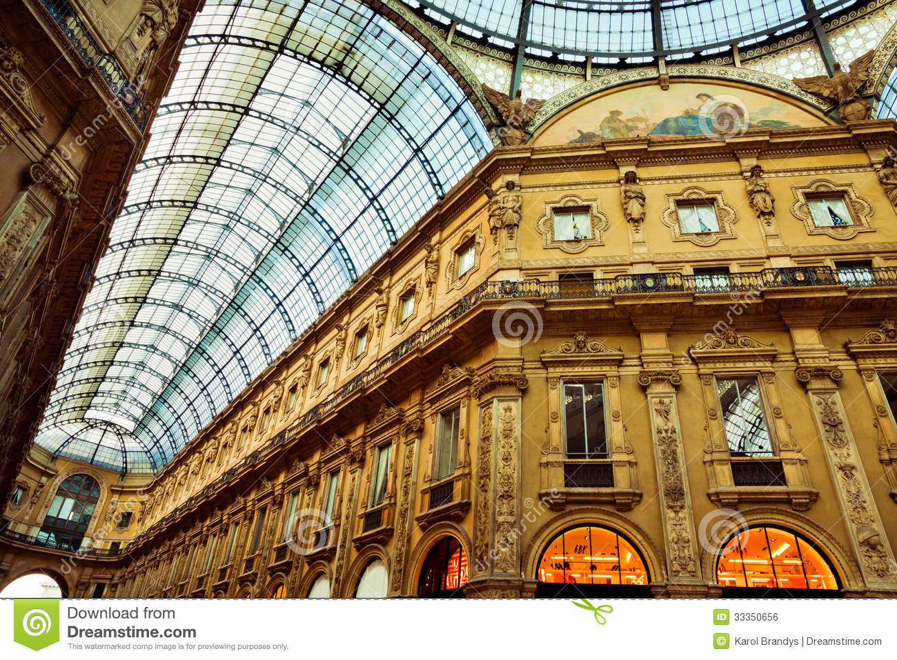 Shopping Gallery In Milan Stock Photo Image Of Inside