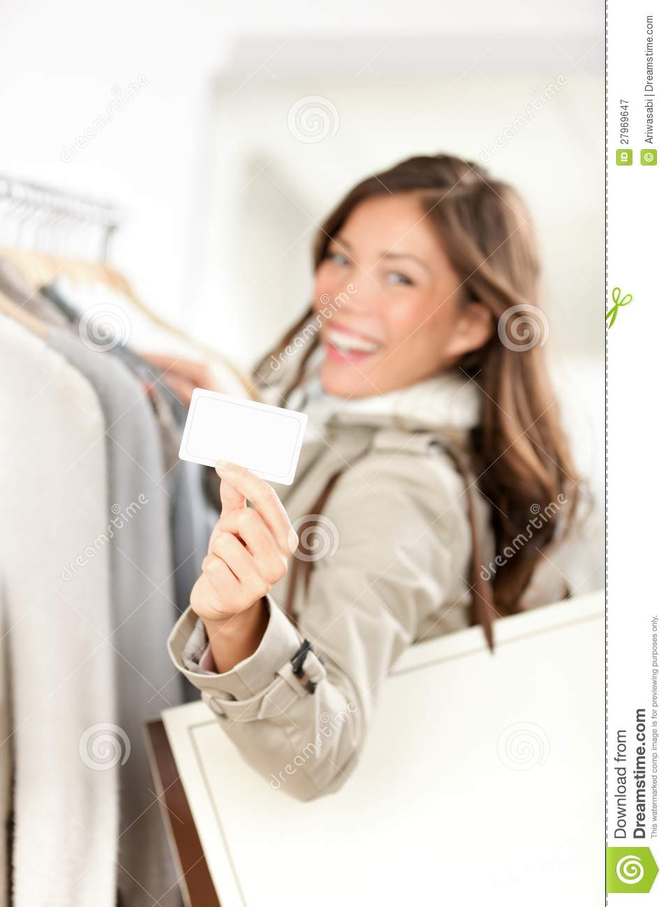 shopping gift card woman happy royalty free stock