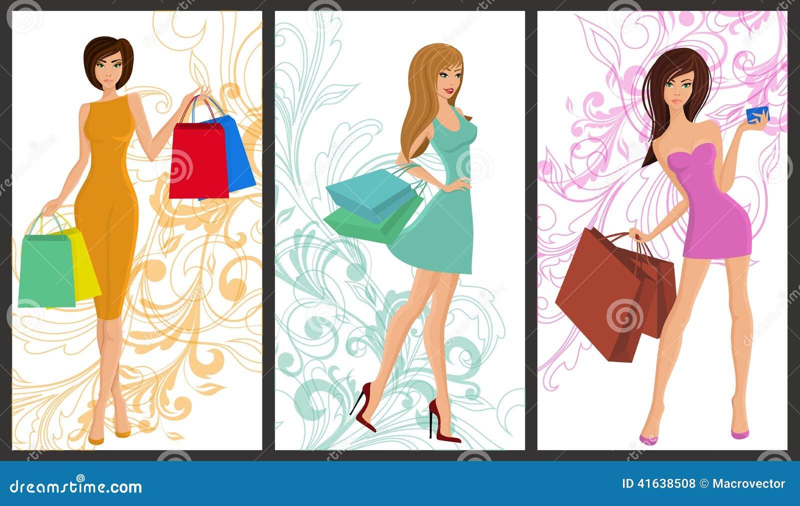 shopping girl banner illustration 41638508 megapixl