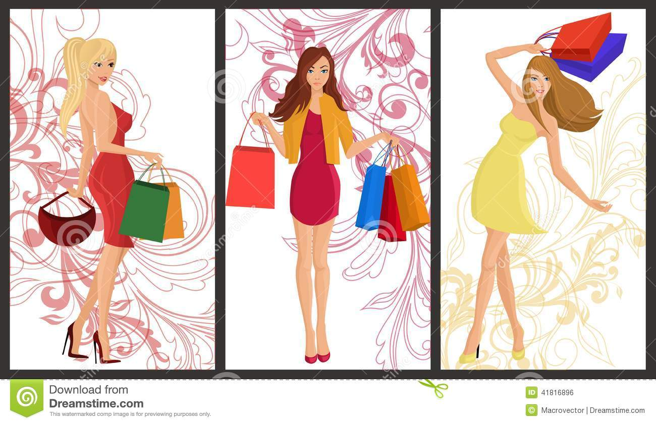 Shopping girl banner stock vector. Image of people, face ...