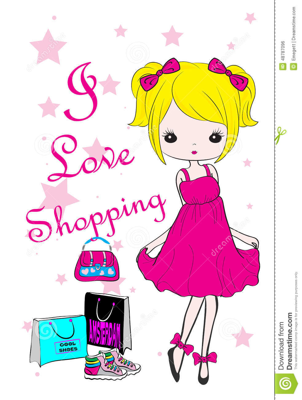 Design t shirt girl - Shopping Girl Fashion Kids T Shirt Graphic Vector Design