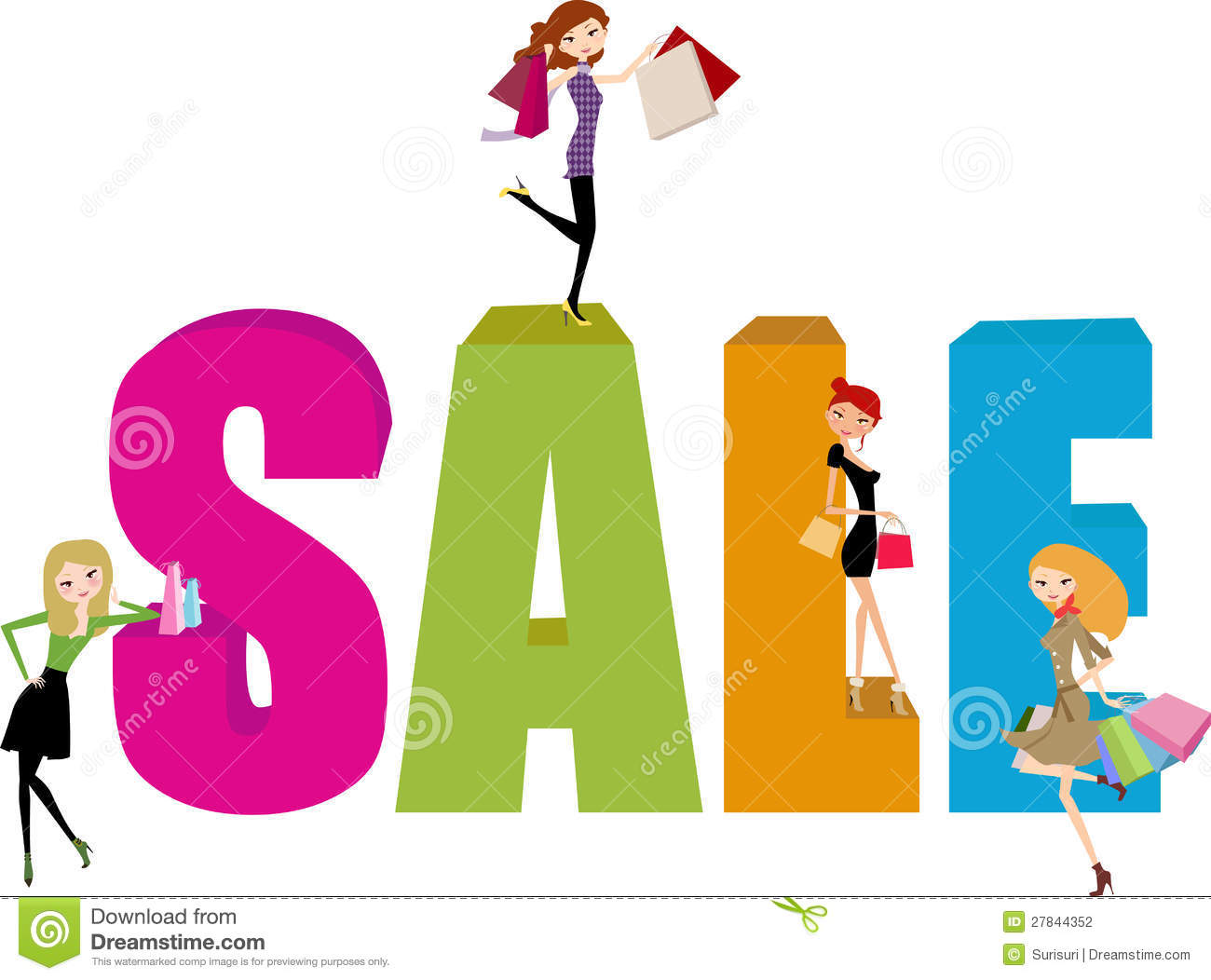 Woman Shopping Clipart Shopping girl and sale word
