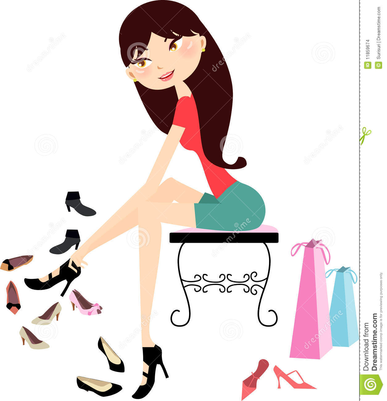 Shopping Girl In Shoe Store Stock Images Image 11859674